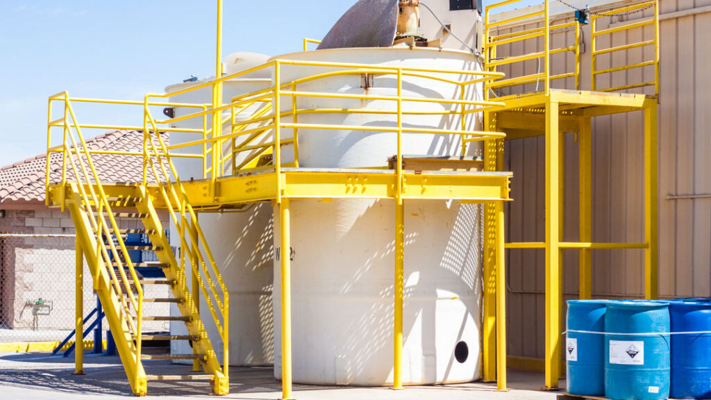 large material tanks with stairs